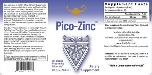 Pico-Zinc - Zinkoplossing | Dr Dean's Pico-ion Vloeibaar Zink - 240ml